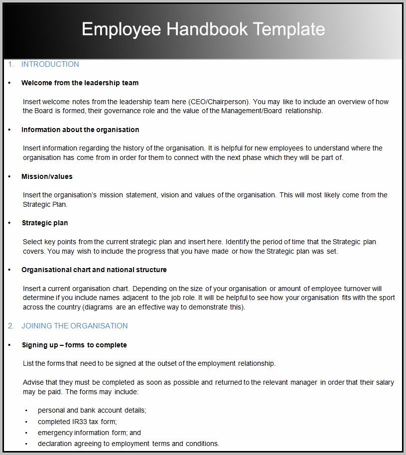 Best Employee Handbook Template
