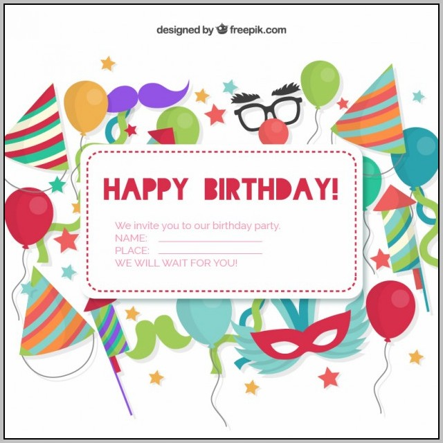 Birthday Party Invitation Card Template Free Download