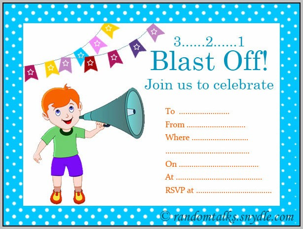 Birthday Party Invitation Cards For Boy
