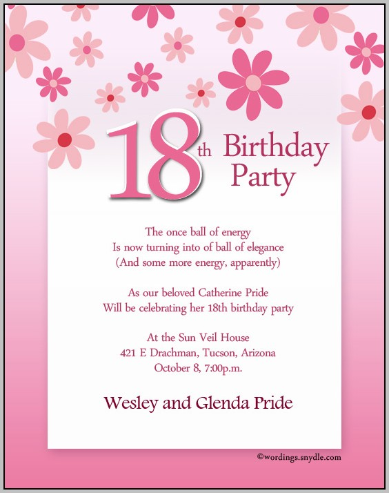 Birthday Party Invitation Messages Samples