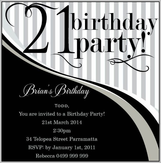 Birthday Party Invitation Template Black And White
