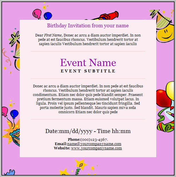 Birthday Party Invitation Template Email