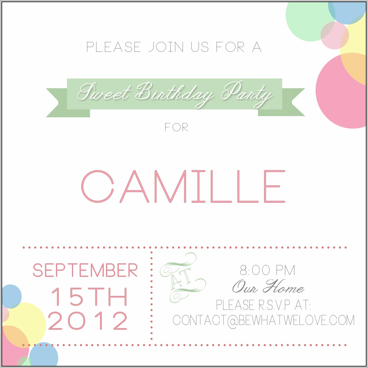 Birthday Party Invitation Template For Email