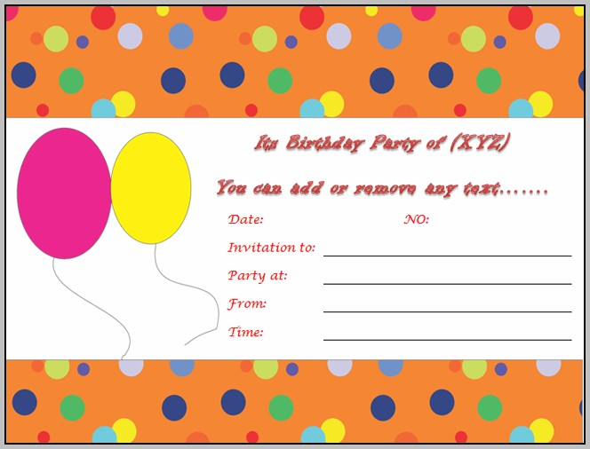 Birthday Party Invitation Template Free Online