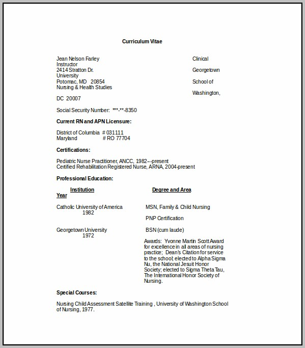 Curriculum Vitae Template Free Download Pdf