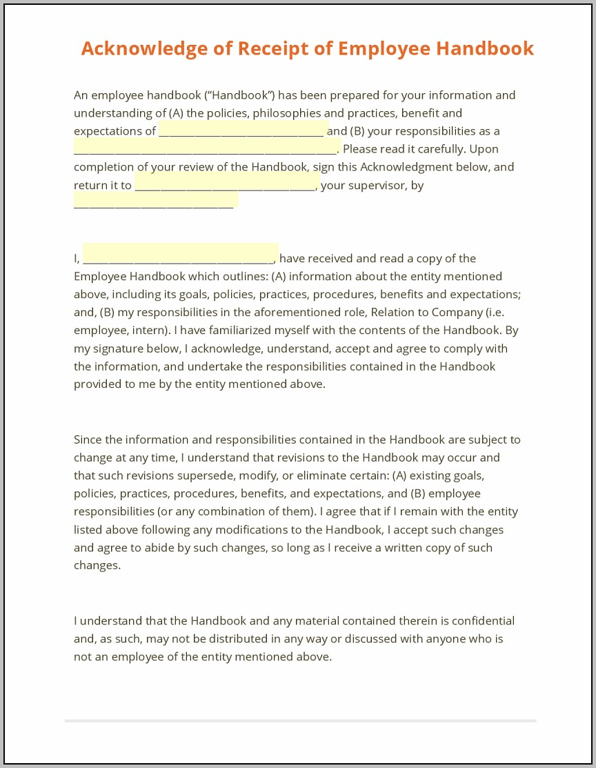 Employee Handbook Acknowledgement Form Template