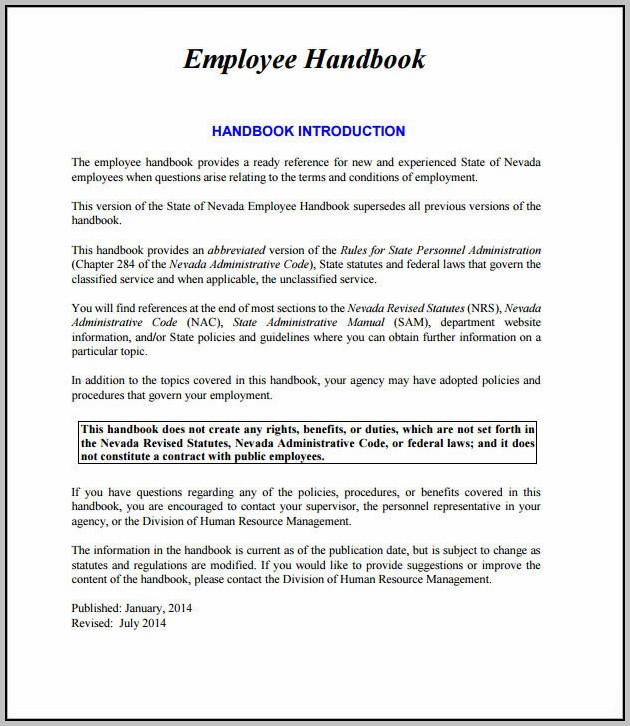 Employee Handbook Introduction Sample