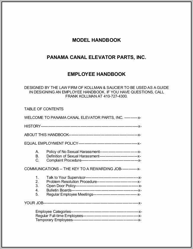 Employee Handbook Sample 2014