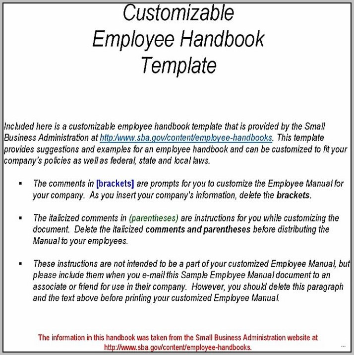 Employee Handbook Sample Doc