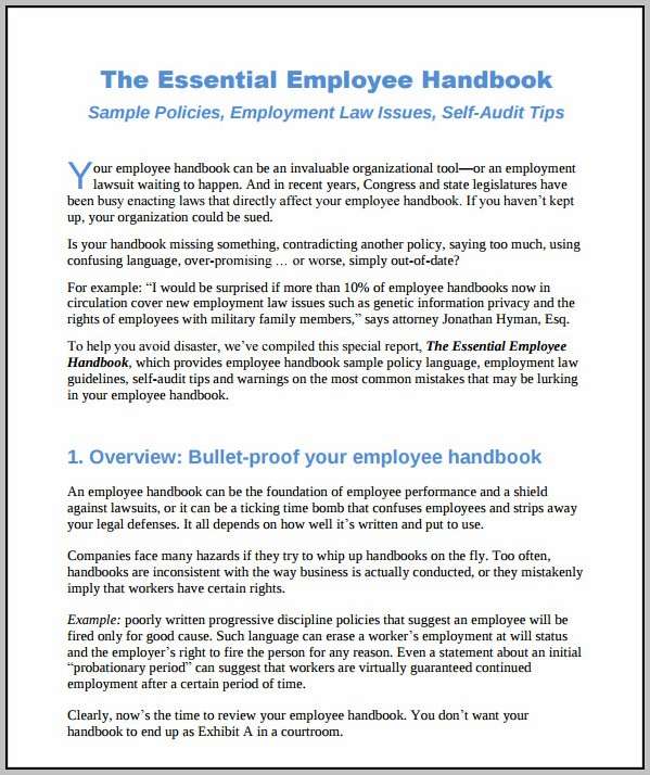Employee Handbook Sample Uae