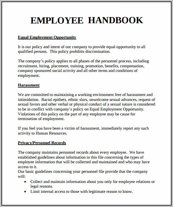Employee Handbook Template California