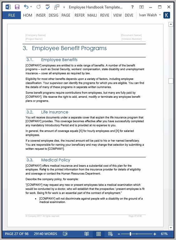 Employee Handbook Template Ireland