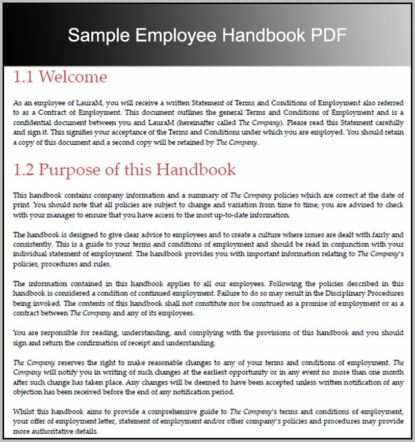Employee Handbook Template Word Free