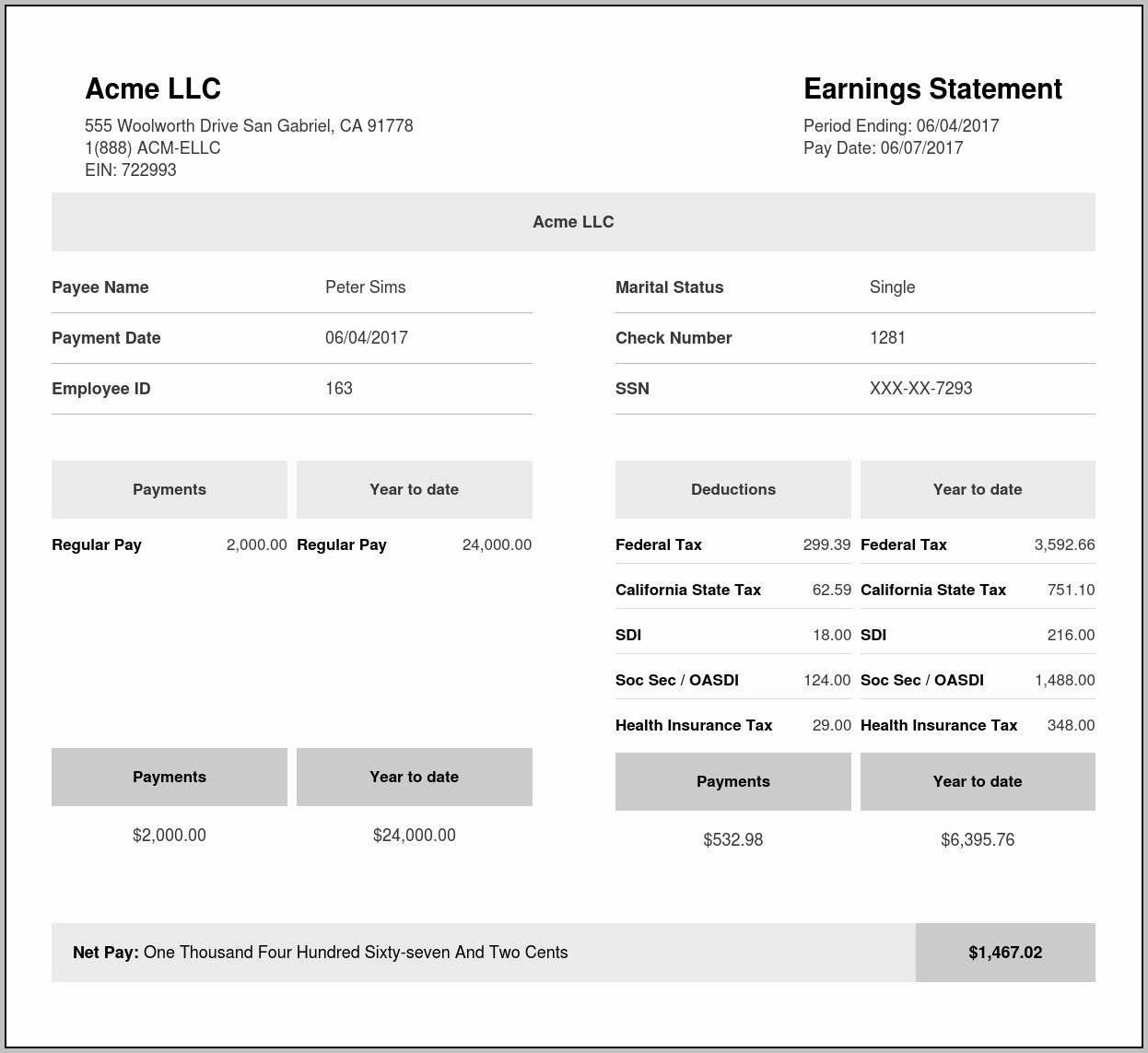 Employee Payroll Check Stub Template