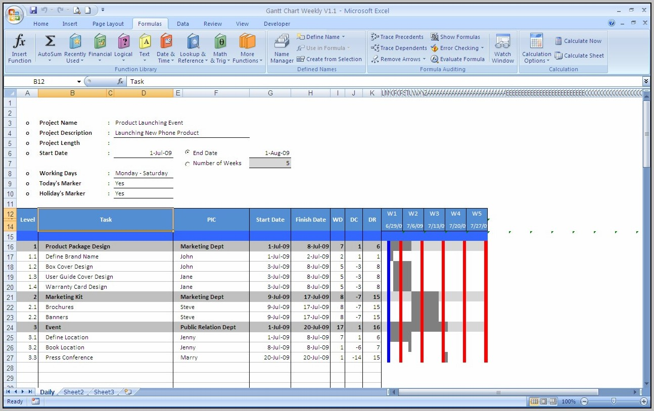 Excel Gantt Chart Template Download