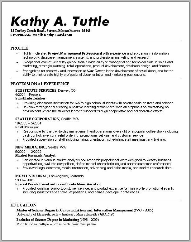 Fill In The Blank High School Resume