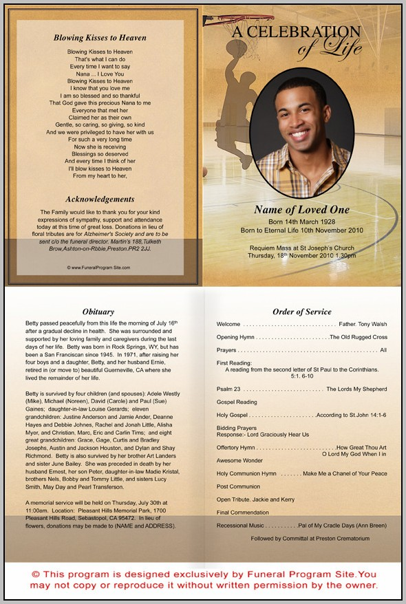 Free A4 Funeral Program Template