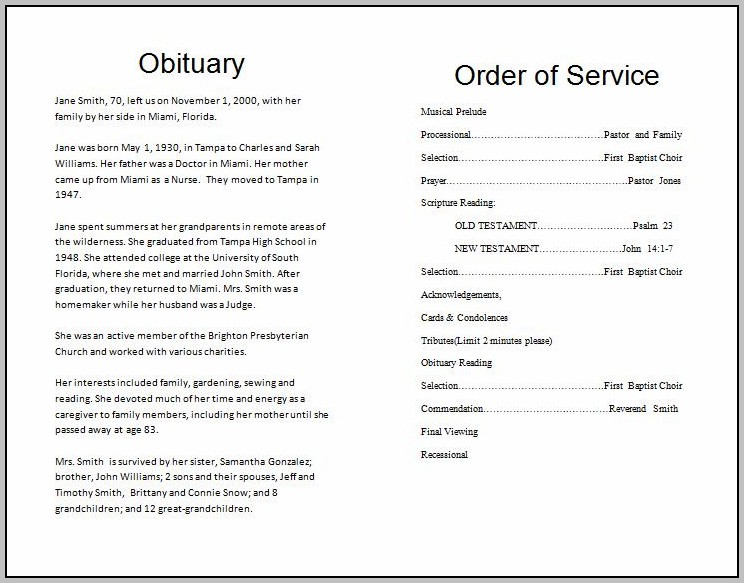 Free Basic Funeral Program Template
