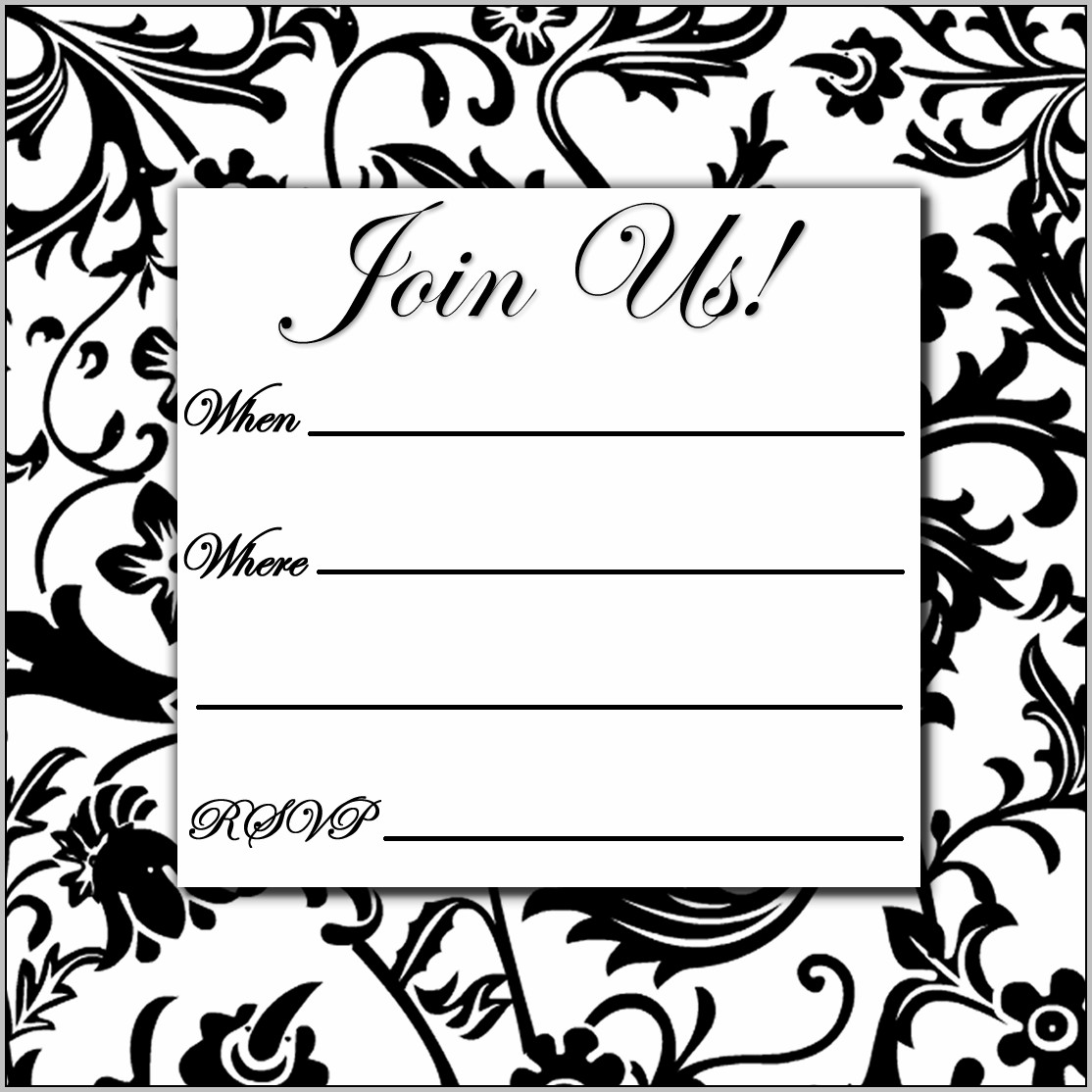 Free Birthday Invitation Templates Black And White