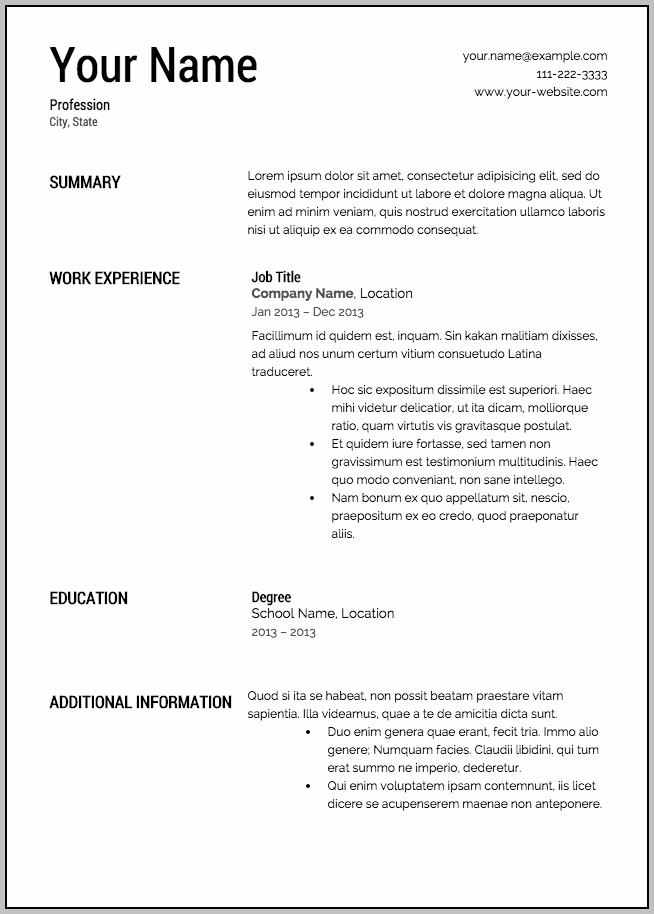 Free Blank Form Of Resume