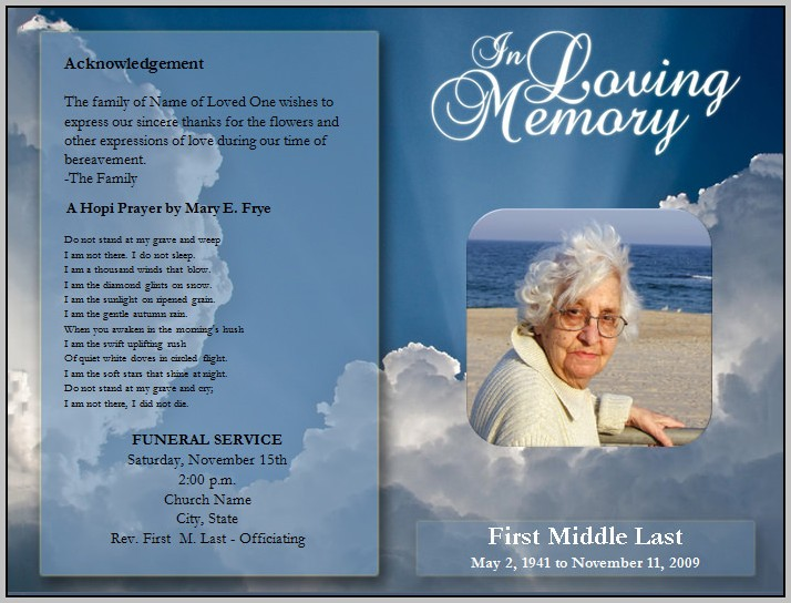 Free Blank Funeral Program Template