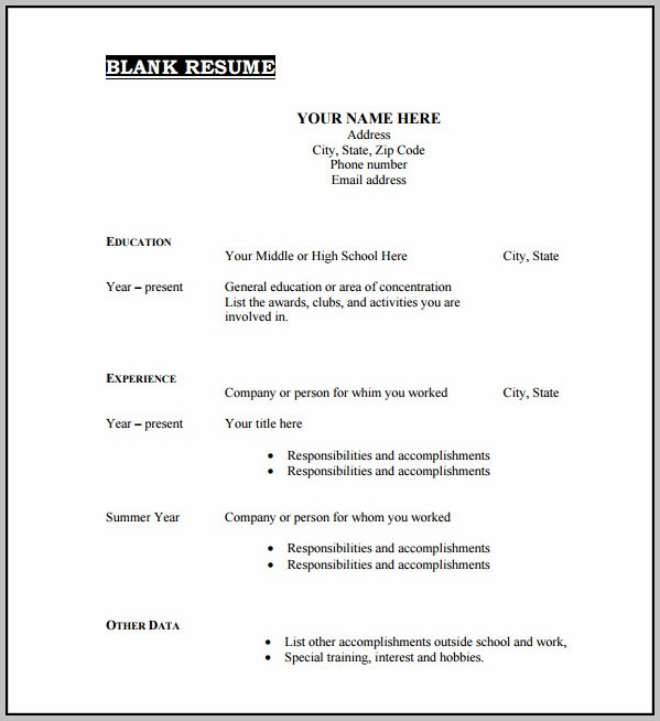 Free Blank Resume Form