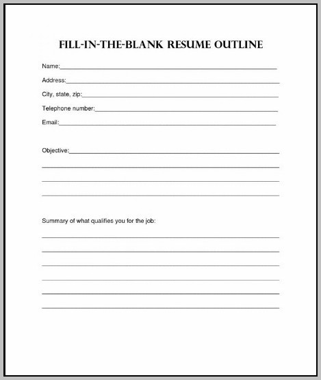 Free Blank Resume Format Download