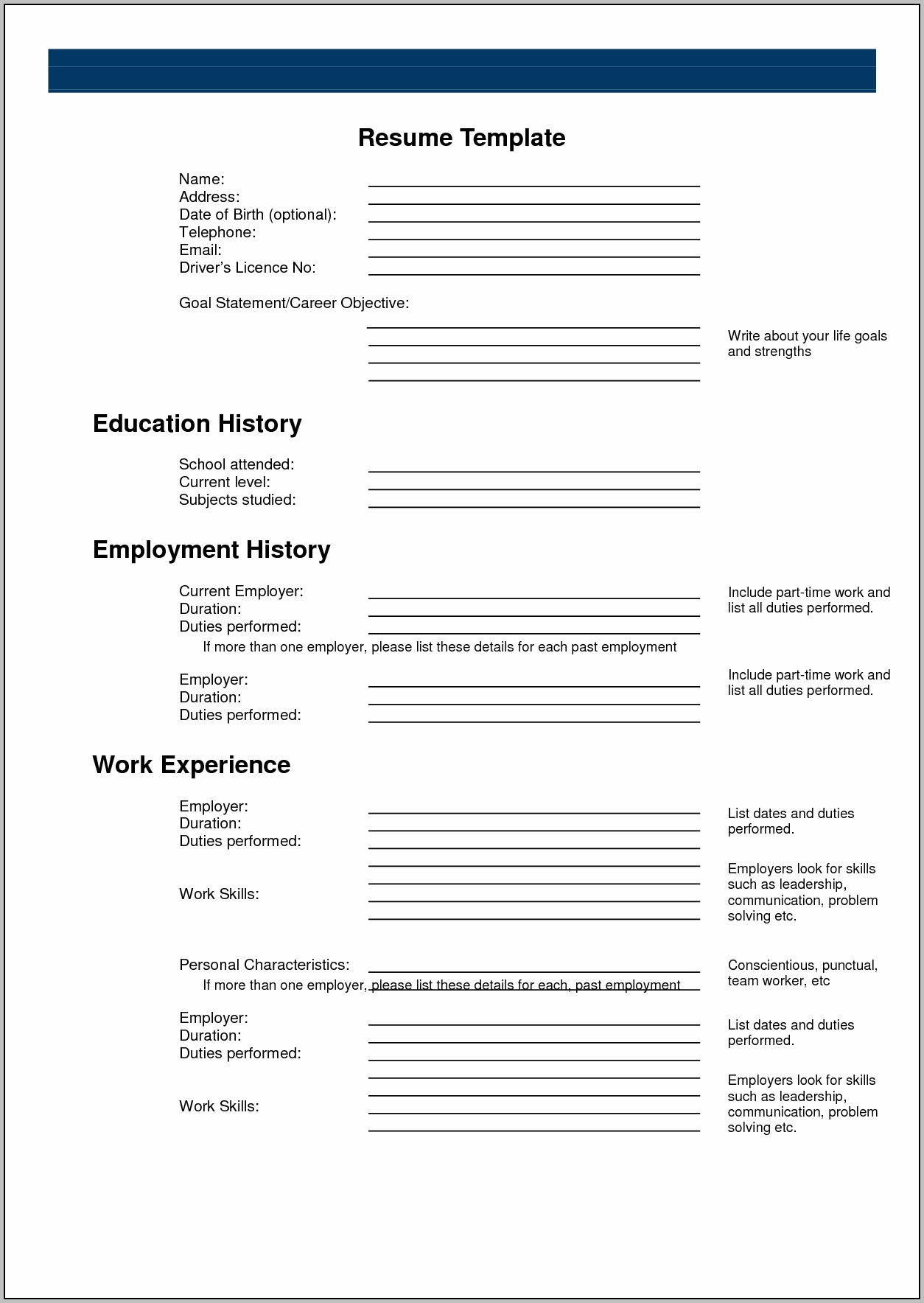 Free Blank Resume Forms Printable