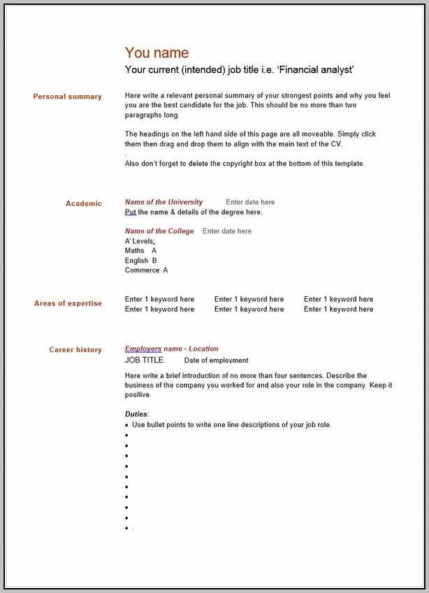 Free Blank Resume Layouts