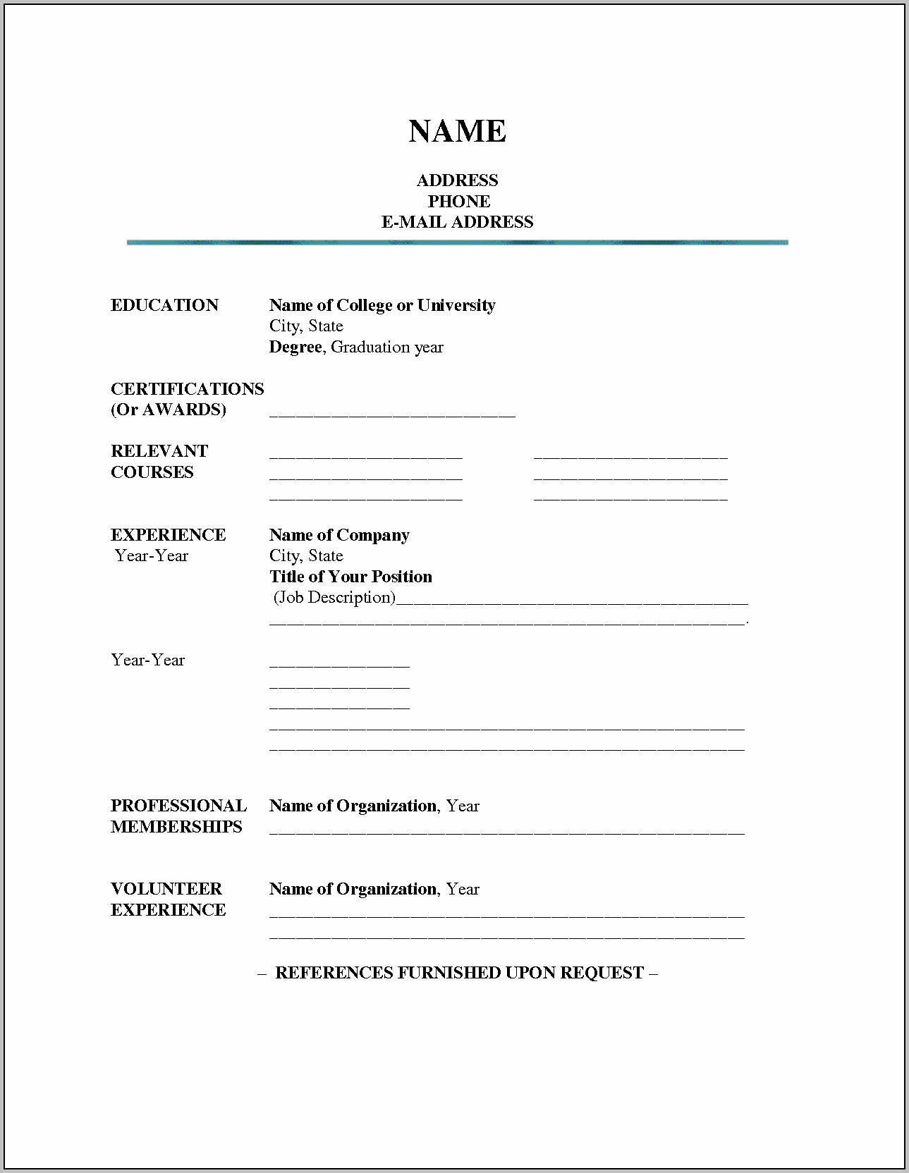 Free Blank Resume Templates For Teachers