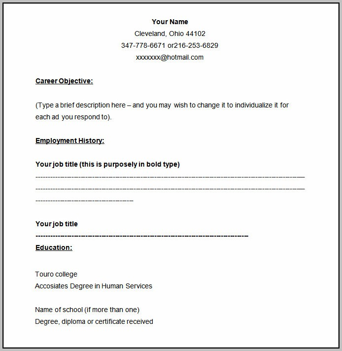 Free Blank Resume Templates Printable