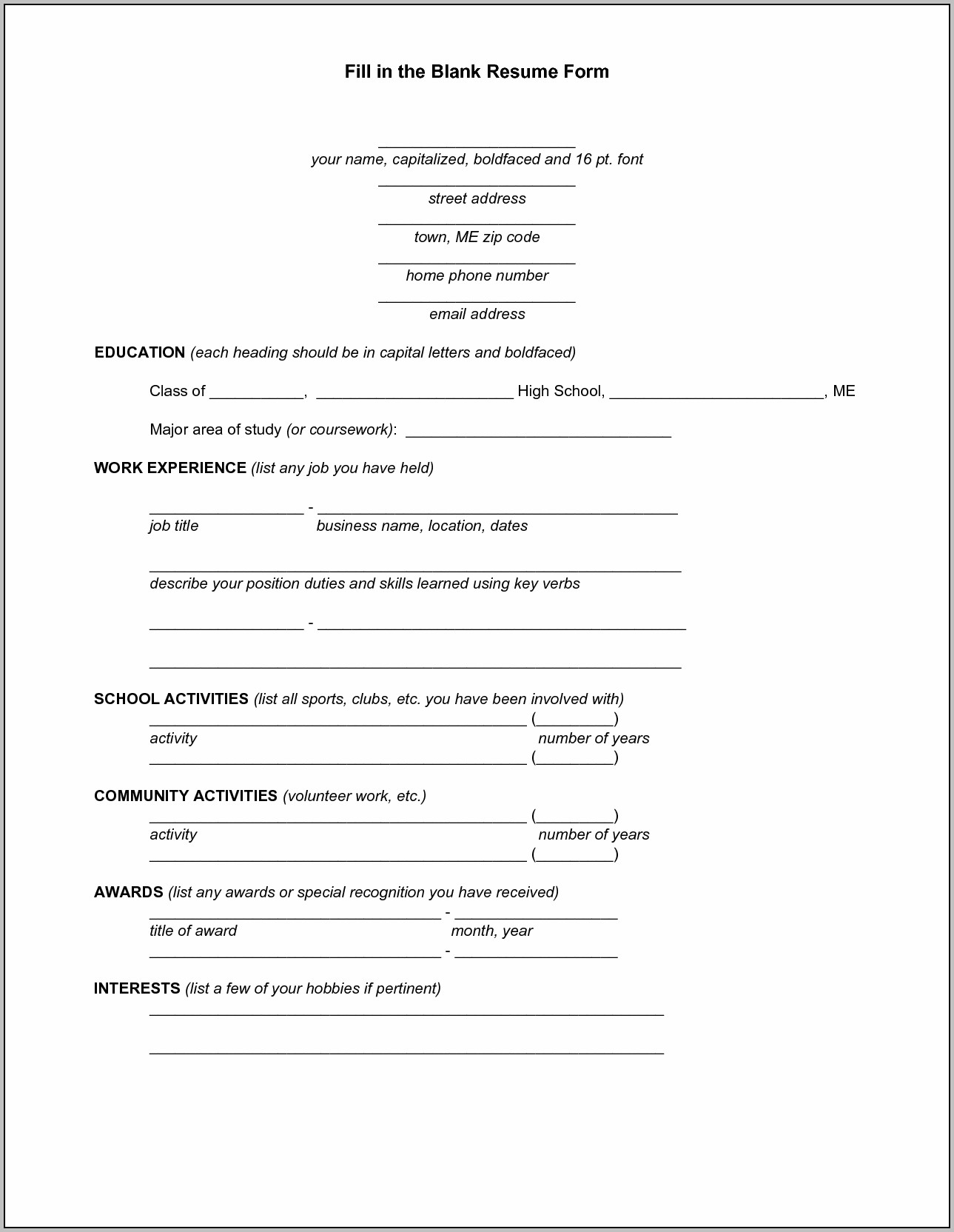 Free Blank Resume Templates To Download