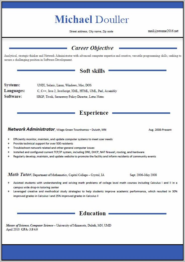 Free Download Latest Resume Format In Ms Word