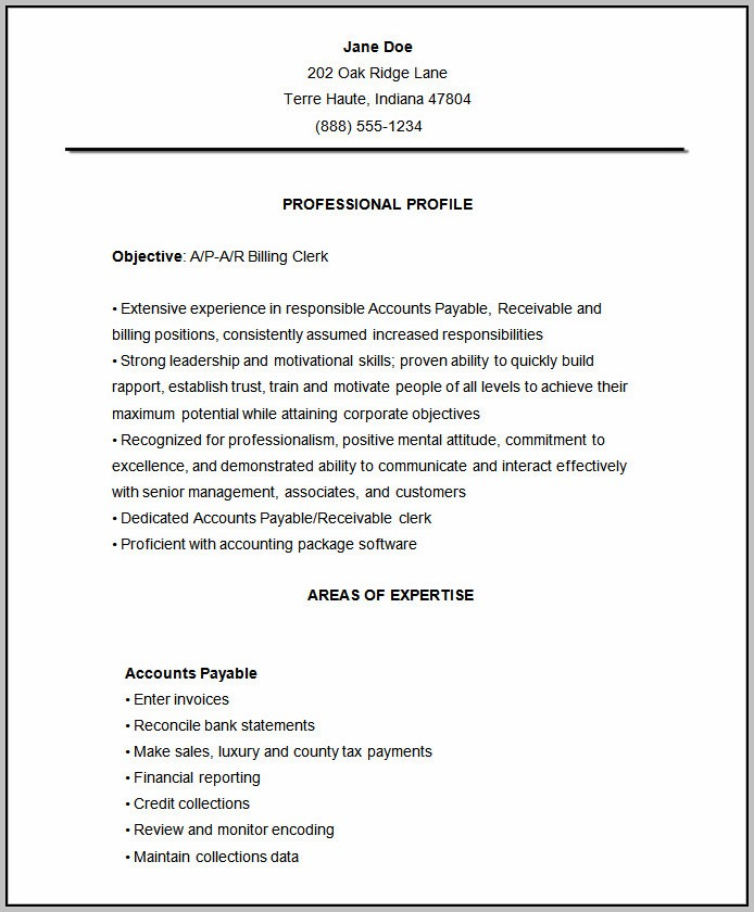 Free Download Resume Format Accountant