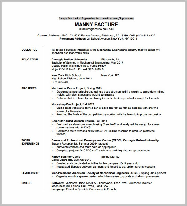 Free Download Resume Format For Freshers Engineers