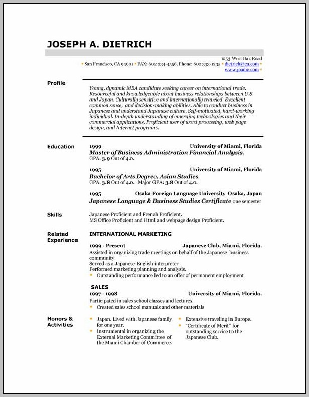 Free Download Resume Format For Job