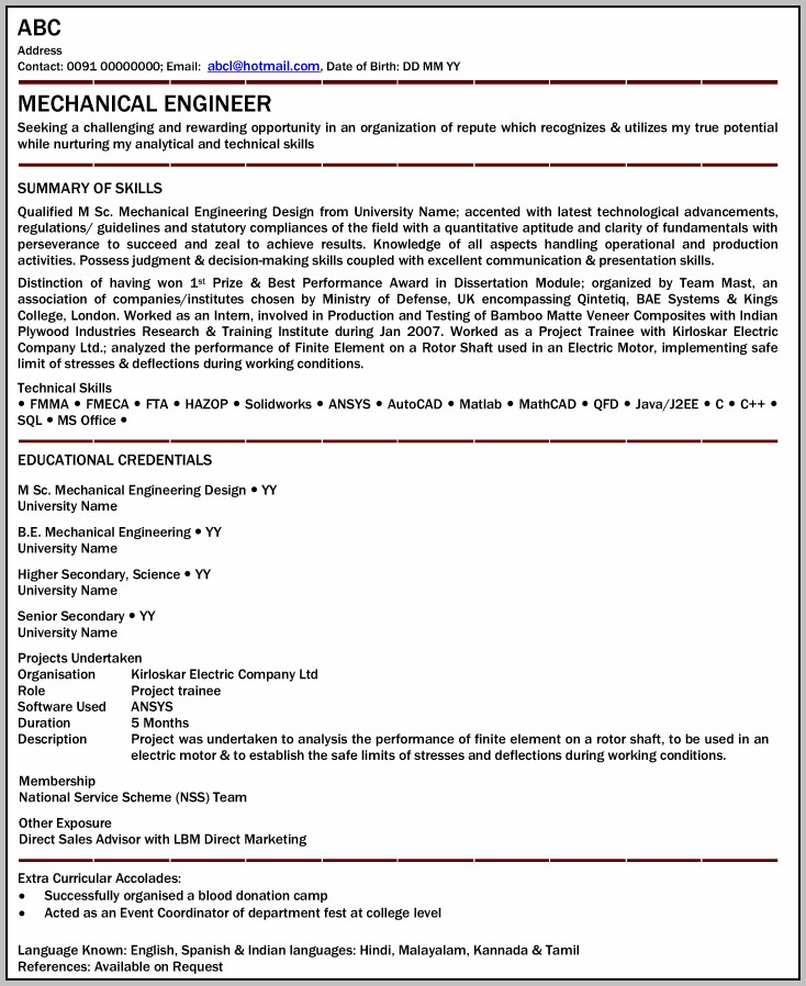 Free Download Resume Format For Mechanical Engineers