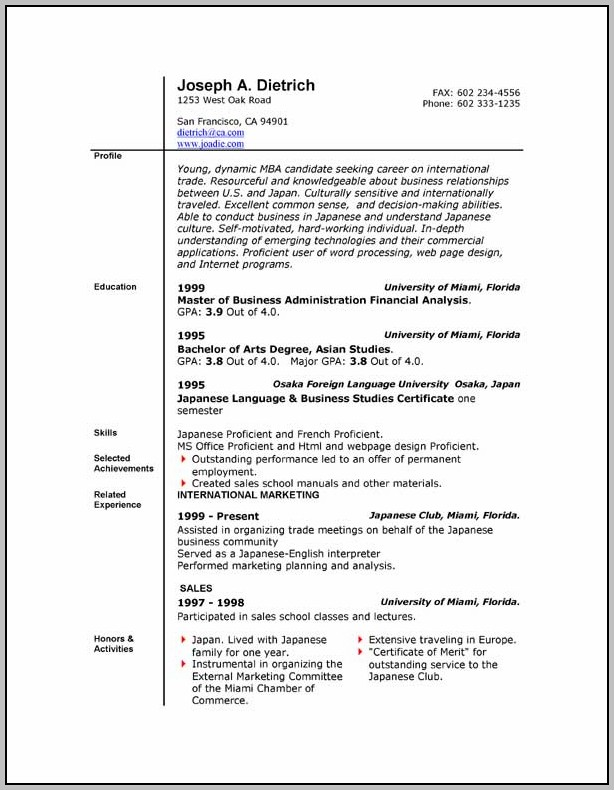 Free Download Resume Format Microsoft Word