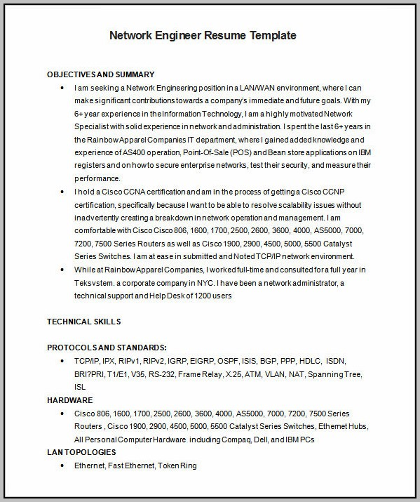 Free Download Resume Format Network Engineer