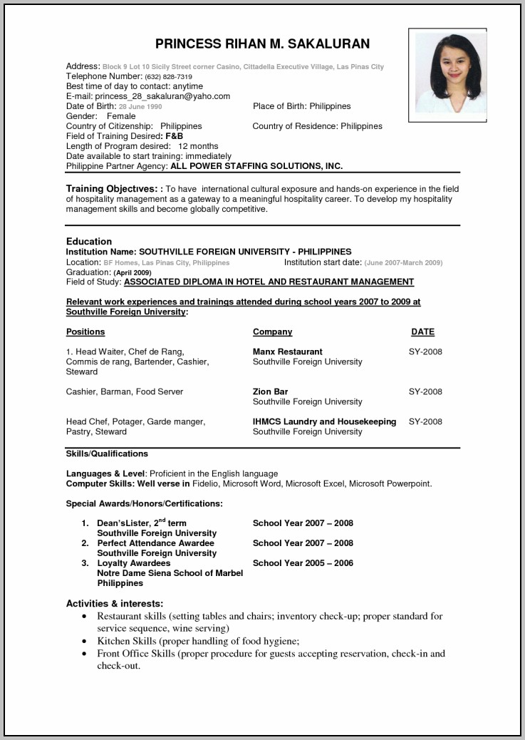Free Download Resume In Pdf Format