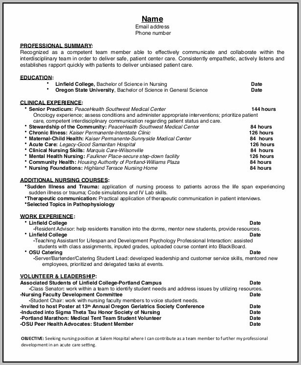 Free Entry Level Nurse Resume Template