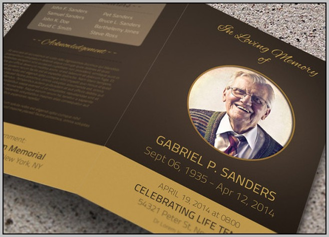 Free Funeral Card Program Template