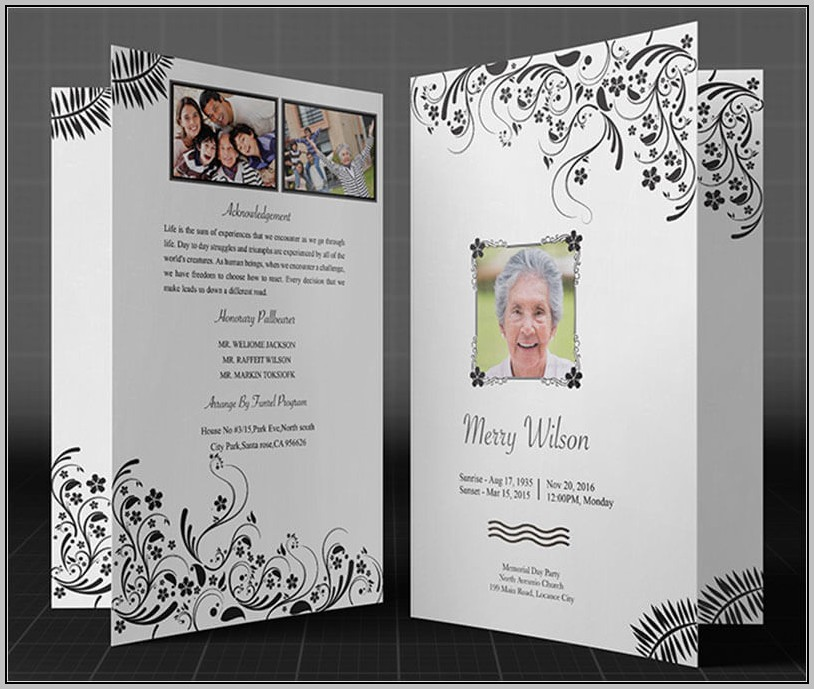 Free Funeral Program Template Black And White