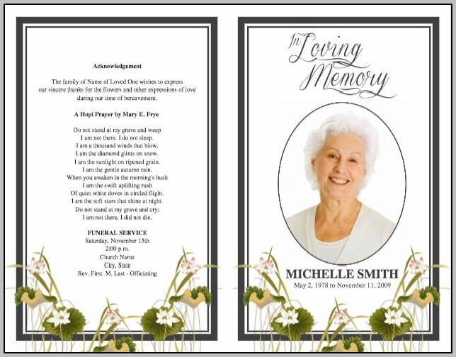 Free Funeral Program Template Examples