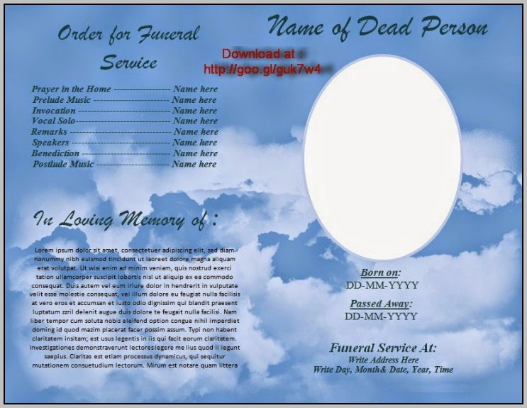 Free Funeral Program Template Indesign