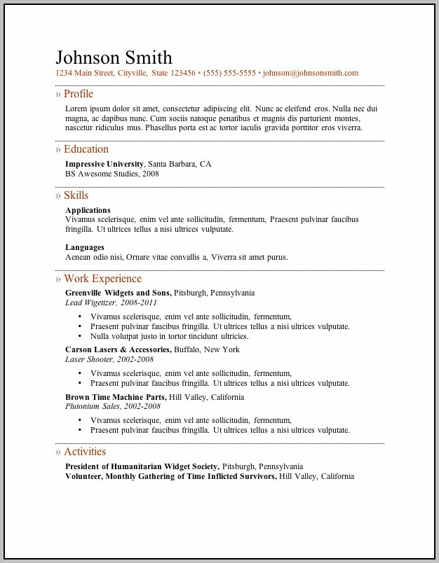 Free Printable And Savable Resume Templates