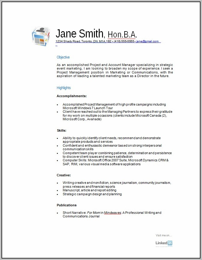 Free Printable Resume Samples