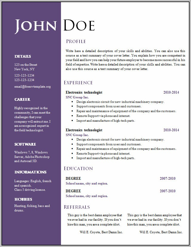Free Printable Resume Templates For Word
