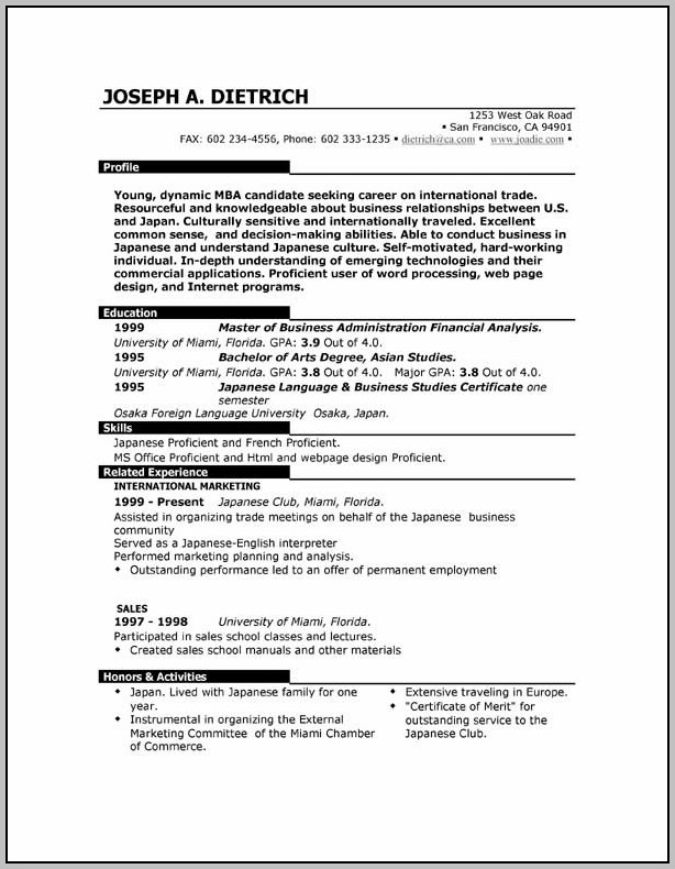 Free Resume Outline Download