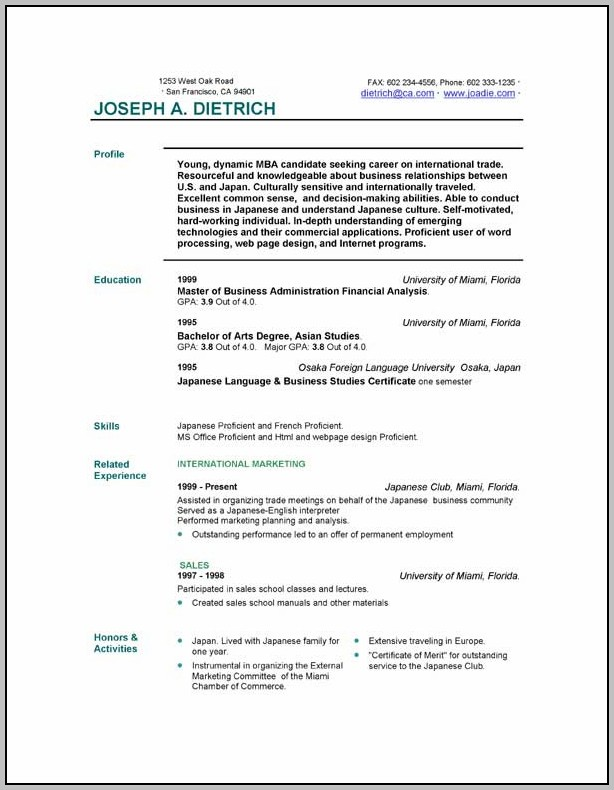 Free Resume Samples Download